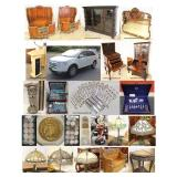 estate auction furniture collectibles gold sterling jewelry lamps lighting rugs carpets cabinets cupboards bedroom dining living room decorator designer mirrors prints paintings sofas sections tables