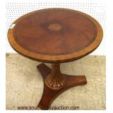 """IMG_7133 auction IMG_7134 auction  Burl Mahogany """"Ethan Allen Furniture"""" Inlaid and Banded Lamp Tab"""