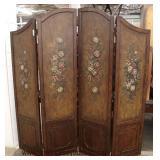 "Mahogany ""Ethan Allen Furniture"" 4 Panel Decorator Room Divider Screen  Auction Estimate $100-$300"