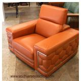 """COOL NEW """"Divanitalia"""" in the Desired Orange Leather Button Tuft Sides Club Chair  Auction Estimate"""