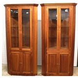 PAIR of SOLID Cherry Bench Made Corner Cabinets  Auction Estimate $300-$600 – Located Inside