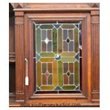 ANTIQUE Continental Walnut 3 Part Leaded Glass Court Cupboard  Auction Estimate $400-$800 – Located