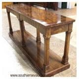 """Burl """"Drexel Furniture"""" Mahogany and Banded 2 Tier Sofa Table  Auction Estimate $200-$400 – Located"""