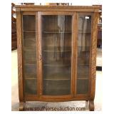 ANTIQUE Quartersawn Oak China Cabinet  Auction Estimate $100-$300 – Located Inside