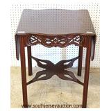 """SOLID """"Baker Furniture"""" Mahogany Chippendale Drop Side Lamp Table by Baker  Auction Estimate $300-$"""