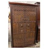 FANTASTIC Antique Style Asian 2 Door Cabinet with Highly Ornate Iron Foo Dog Handles and Lock  Auct