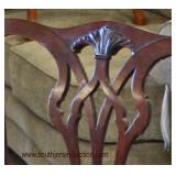 Mahogany Ball and Claw Carved Tacked Upholstered Chippendale Style Bench  Auction Estimate $100-$30
