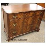 Burl Mahogany Bracket Foot 3 Drawer Low Chest  Auction Estimate $100-$300 – Located Inside