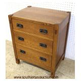 """Mission Oak """"Stickley Furniture"""" 3 Drawer Bed Side Stand  Auction Estimate $300-$600 – Located Insi"""