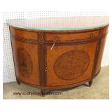 Burl Mahogany Highly Inlaid and Banded One Drawer One Door Demilune Commode with Custom Glass Top