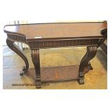 Mahogany Scroll Leg Carved Banded Top Console Table  Auction Estimate $100-$300 – Located Inside