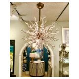 """COOL Modern and Unique """"Diallo"""" Arteriors 8 Light Coral White Chandelier (approximately 30""""x30"""")  A"""