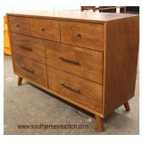 NEW PAIR of Mid Century Design Walnut 3 over 4 Drawer Low Chest  Auction Estimate $200-$400 each– L