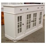 NEW White Contemporary 4 Door 3 Drawer Buffet  Auction Estimate $200-$400 – Located Inside