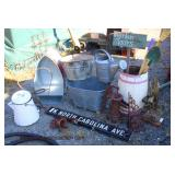 Selection of Primitive Yard Tools, Signs, Galvanized Buckets, and much more  Auction Estimate $20-$
