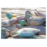 (27) Duck Decoys most with Tie Anchor Floats