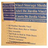 "NEW ""Duramax"" Vinyl Storage Shed Model #40224-1 (1 Box Kit)  approximately 10'5'x10'5""  Auction Est"