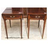 """— AWESOME —   PAIR of """"Councill Craftsmen Furniture"""" SOLID Mahogany Inlaid and Banded Taper Leg Dro"""