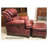 """— QUALITY —  """"Hancock and Moore"""" Leather in the Burgundy Recliner Chair and Ottoman  Auction Estima"""