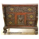 — AWESOME —  ANTIQUE SOLID Mahogany Highly Carved Slant Front Desk with Galley and Carved Griffins
