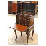 """Virginia Galleries Henkel Harris"" Furniture Company Burl Mahogany Lift Top Silver Flatware Chest"