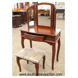 Contemporary 2 Piece Dressing Vanity and Bench with Tri Fold Mirror in the Mahogany Finish  Auction