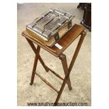 Walnut Bookstand with ANTIQUE Leather Bound Bible  Auction Estimate $100-$200 – Located Inside