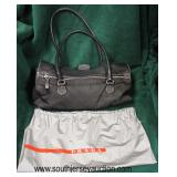 """Authentic """"Prada"""" Black Leather and Canvas Purse with Dust Bag  Auction Estimate $200-$600 – Locate"""