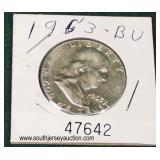 United States 1963 Silver Franklin Half Dollar  Auction Estimate $5-$10 – Located Glassware