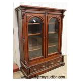 ANTIQUE Walnut Victorian Carved 2 Door 2 Drawer Bookcase  Auction Estimate $300-$600 – Located Insi