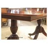 BEAUTIFUL Mahogany Double Pedestal Banded and Inlaid Dining Room Table with 12 SOLID Mahogany Carve