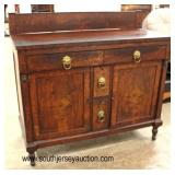 ANTIQUE Burl Mahogany Carved 4 Drawer 2 Door Buffet with Backsplash and Lion Head Pulls  Auction Es