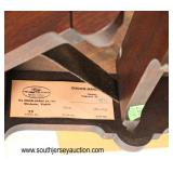 "SOLID Mahogany ""Henkel Harris Furniture"" Queen Anne Drop Side Napkin Table  Auction Estimate $200-$"
