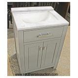 "NEW 24"" Marble Top 2 Door Grey Bathroom Vanity with Backsplash  Auction Estimate $200-$400 – Locate"