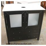"""NEW 30"""" Marble Top Drawer Black Bathroom Vanity Cabinet with 2 Frosted Glass Doors over 2 Drawers"""