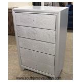 NEW Contemporary Decorated Faux Snake Skin Front 5 Drawer High Chest – Hardware in Drawer  Auction