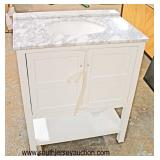 "New 30"" Marble Top 2 Drawer White Bathroom Vanity with Backsplash  Auction Estimate $200-$400 – Loc"