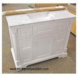 """NEW 42"""" Marble Top 6 Drawer 1 Door Columned Bathroom White Vanity with Backsplash and Hardware in t"""