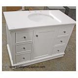 "NEW 42"" Marble Top White 6 Drawer 1 Door Bathroom Vanity with Hardware  Auction Estimate $200-$400"