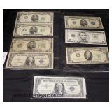 Selection of Silver Certificate $1.00 Bill, Sheet of Old $5.00 Bills and $1.00 Silver Certificate,