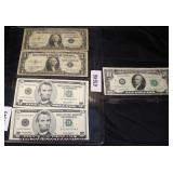 Sheet of (2) $1.00 Silver Certificates and (2) Uncirculated $5.00 Bills and a 1969 $10.00 Bill  Auc