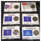 Set of 6 State Quarters including: (2) Ohio, (1) Louisiana, and (3) Indiana  Auction Estimate $5-$1