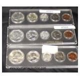 Selection of (3) 1964 Kennedy U.S. Silver Proof Sets  Auction Estimate $10-$30 each – Located Glass