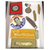 Tray Lot of Pen Knives, Nixon for President Button, Hand Made White Tail Cutlery Knife, George Wash