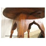 ANTIQUE Tiger Maple Round Pegged Lamp Table in Original Found Condition  Auction Estimate $100-$200