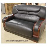 NEW Black Leather with Mahogany Trim Loveseat  Auction Estimate $200-$400 – Located Inside