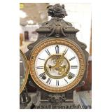 ANTIQUE Ansonia Clock Co., New York, USA French Figural Lady Mantle Clock with Pendulum  Auction Es
