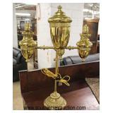 Brass Electrified Kerosene Double Arm Student Lamp  Auction Estimate $50-$100 – Located Inside