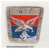 Lot 58: ID badge for worker Peenamunde West with maker mark Luftwaffe eagle 417