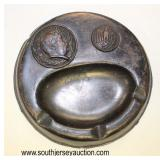 Lot 62: German ashtray in bronze finish Adolph Hitler and Army eagle marked